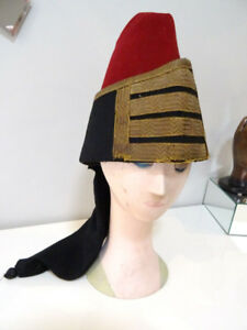 very rare ZOUAVES ALGERIAN FEZ 19thC officer's hat WOOL military