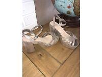 70s Style Pewter Platform Sandals 4wide