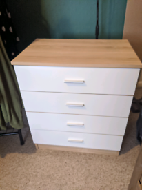 Set Of Drawers White and Wood, Small