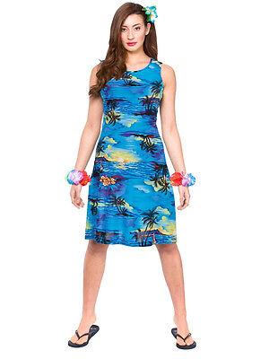 Ladies Hawaiian Short Dress Beach Party Blue Palm New Fancy Dress Summer Aloha
