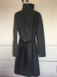Mackage Nori Tailored Wool Coat with Wide Lapel - Charcoal