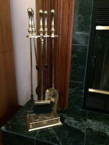 Solid Brass 5 Piece Fireplace Tools