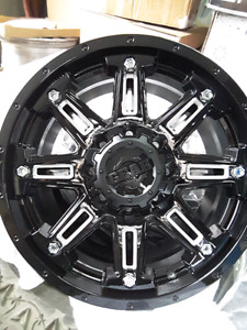 "4 NEW 6×139.7 / 6x135- 20x9""   BLACK/MACHINED WHEELS"