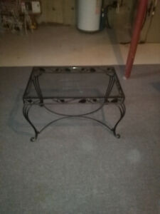 Coffee Table with glass top and wrought iron