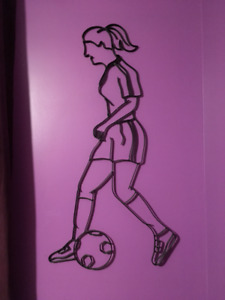 Wrought Iron Soccer Player Silouette for Kids Room Approx.