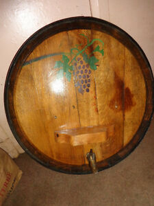 Whiskey Barrel wall hanging and Wall mounted corkscrew