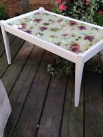Vintage Decoupage Table. Newly refinished.
