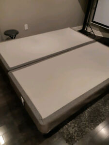 Almost New Tempur-pedic King Boxspring and steel bed frame