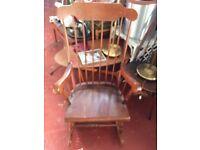 Vintage retro wooden shabby chic rocking nursing chair