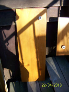 25 VARIOUS SIZED PINE PLYWOOD CABINET DOORS FOR SALE.