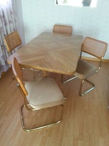 DINING ROOM TABLE, FOUR PADDED CHAIRS & EXTENSION