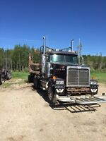 1999 Western Star logging truck and Jeep and pole