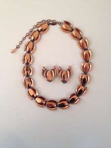 Vintage RENOIR Signed Copper Demi Parure of Necklace & Clip Earr