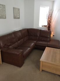 Leather corner sofa, chair and foot stool