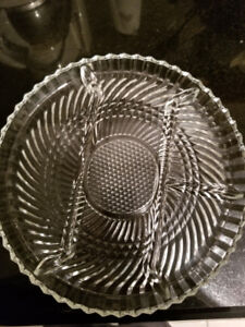 Vintage Crystal Clear Pressed Glass Divided Round Serving Plate