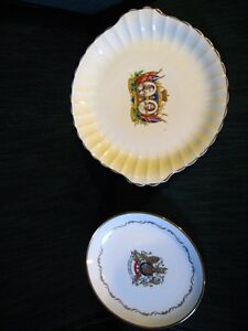 2 collector plates royal family 1937 & 1977 Queen Elizabeth