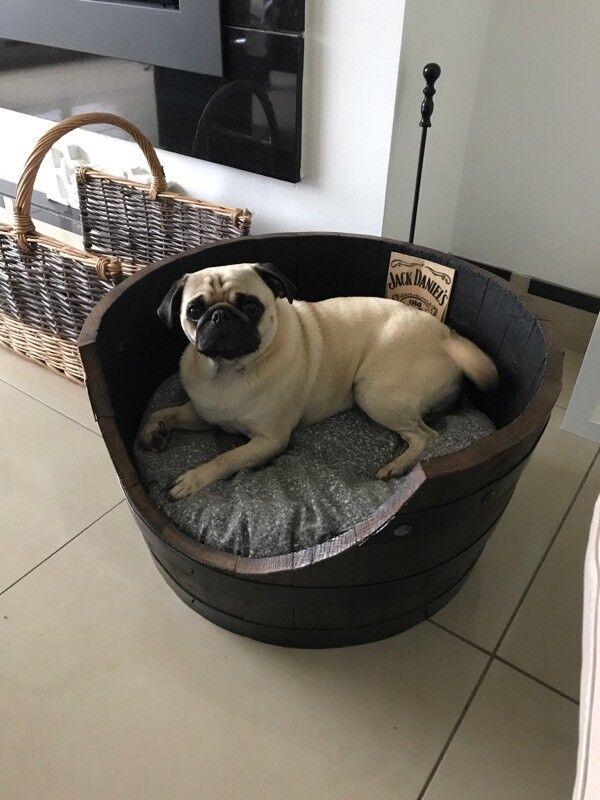 Whiskey barrel dog beds