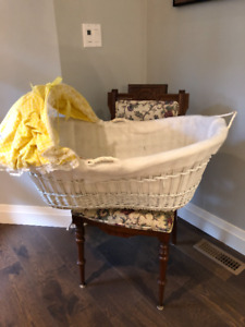 Bassinet Antique Baby Wicker  Bed