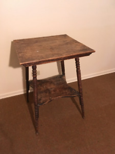 Antique Square Tiered Wood Table