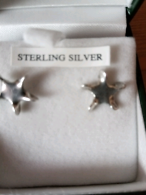 NEW SILVER TWISTED STAR SILVER STUD EARRINGS