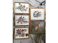 Set of 5 vintage flowery pictures shabby chic