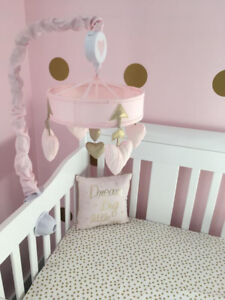 Musical Mobile-  Gold/Pink- Lambs & Ivy Baby Love Heart
