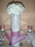 RENT  MIRROR CENTERPIECES ON STANDS- JUST $7.00 EACH