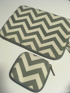"Chevron Laptop Sleeve for 11""Laptop + Charger/Mouse Pouch $10"