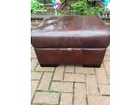 Brown leather storage foot stool