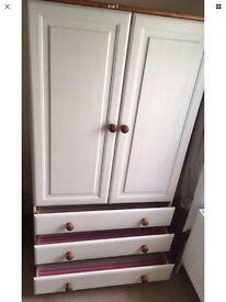 Childrens Wardrobe / Cupboard. 2 door 3 drawer White and Pine Bedroom Furniture