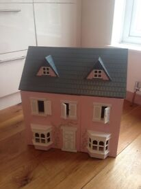 Wooden Dolls house and lots of pieces