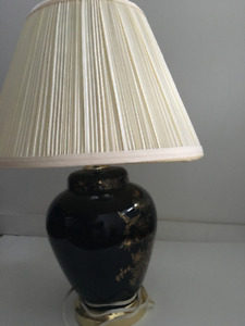 Night table lamps. Decorated blue ceramic.