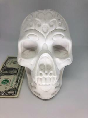 Ready To Paint Plaster Tribal Skull which Measures 6 5/8