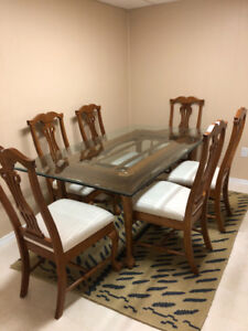 Glass dining table for 6