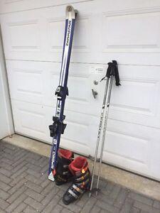 SKI alpins, bâtons, fixations ET bottes