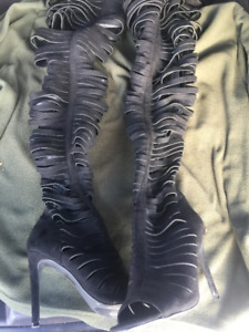 Black Thigh High Boots Size 8.5