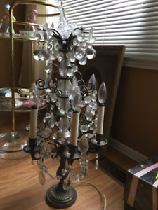 Antique genuine silver and crystal lamp.