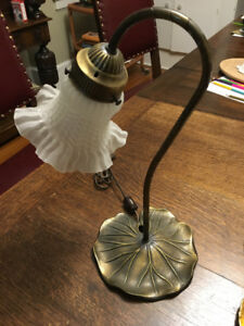Art Nouveau Table Lamp Brass with Glass Shade