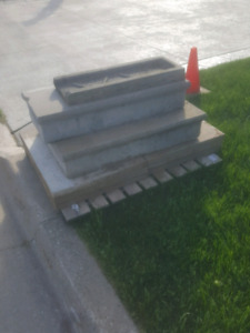 Concrete steps and slabs.