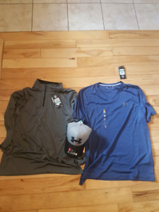 Men's Size Large UA Tops & Hat, Brand New