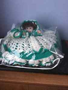 Beautiful doll with handmade crocheted dress made as cushion. Peterborough Peterborough Area image 2