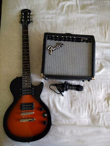 $175 Epiphone Les Paul Special Edition II + Fender 15g amp + Mic