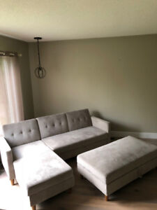Sleeper Sectional with Ottoman, mint condition