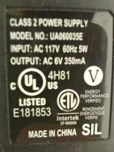 Class 2 Power Supply - Model UA060035E 6VAC 350mA