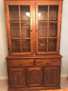 Solid oak buffet/hutch/china cabinet for sale