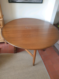 G plan/Ercol type dining gate leaf table and two chairs