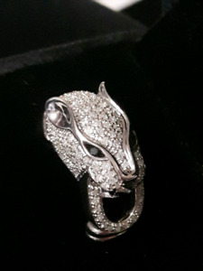Jaguar Stirling silver and diamond ring.