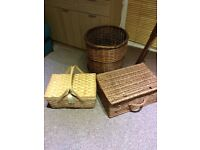 Wicker Baskets, 3 of, 1 Log/Laundry, 2 Picnic Hamper