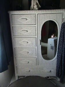 White wicker armoir, vanity with stool , chair
