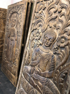 Standing Buddha Wall Panel Beautiful Hand Carving Wooden Door Pa
